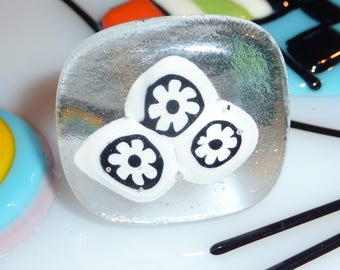 "Ring fused glass, unique creation ""Zermatt"""