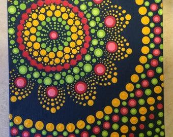 Dot art mandala canvas painting boho circle yoga zen blue yellow