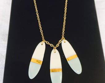 Blue and gold porcelain necklace