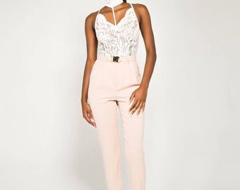 White Choker Lace Cross-Back Bodysuit