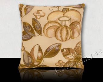 "Square cushion Designer ""GALA ORO"" water lilies and stylized flowers embroidered gold/bluish gray."