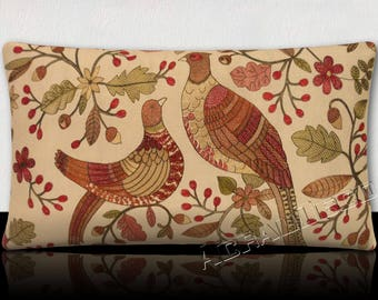 Cushion panoramic 65 cm x 35 cm gorgeous birds and flowers embroidered Eggplant/Green Khaki.