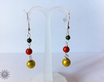 set pearls magic Pine Green, orange and lime green