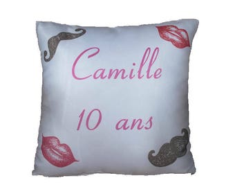 Pillow cover personalized mustache for birthday or other occasion comes with cushion