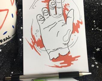 Gorey Red Hand Creepy Postcard