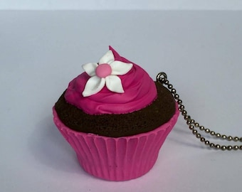 Cupcake chocolate raspberry - polymer clay necklace pendant
