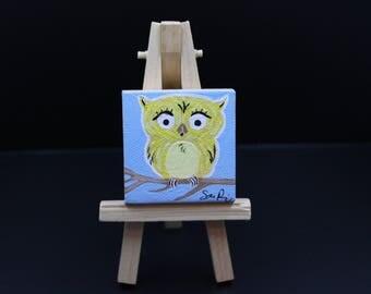 Miniature Owl Painting