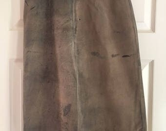 Vintage 90's tan suede knee length skirt.