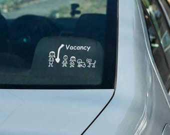 Funny Stick Family Car Window Decal, Stick Family Vacancy Decal, Funny Family Sticker, Stick Family Funny Window Decal.