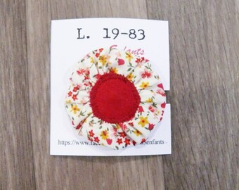 Fabric flower-shaped red flower hair pin