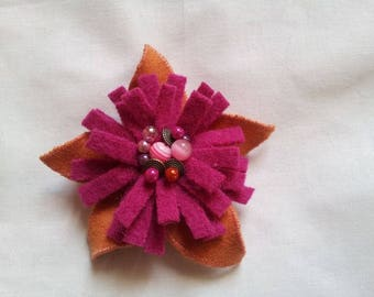 Dandelion yellow and Fuchsia felted brooch and pearls