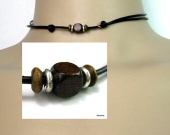 Leather cord necklace and 925 N3569