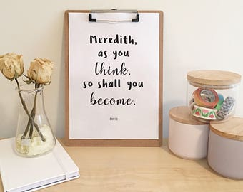 "PERSONALISED A4 Printable Inspirational Quote - ""As you think, so shall you become"" - DIGITAL PRINT - Custom Name"