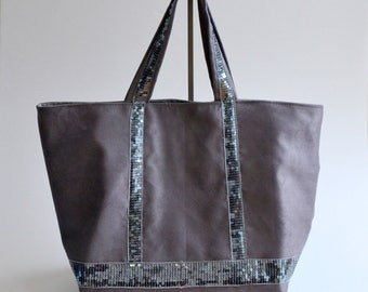 Gray sequins gray suede tote bag handmade @lacouturebytitia women's fashion