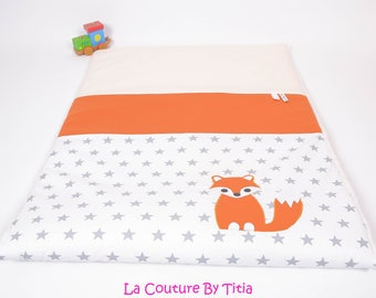 Plaid baby blanket personalized White hand made star @lacouturebytitia orange Fox and gray