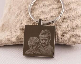 Photogravure square key chain