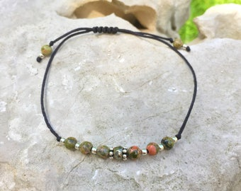 "Bracelet ""lucky"" unakite and Sterling Silver 925"