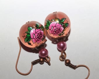 shabby chic tensha beads earrings