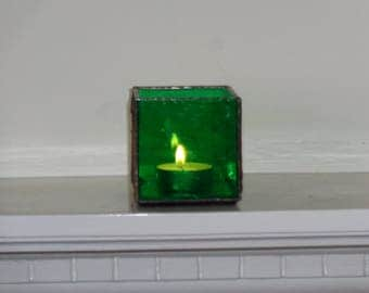 Green stained glass tea light holder