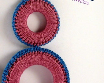 Earrings 2 hoops made of doilies