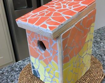Mosaic bird house ORANGE