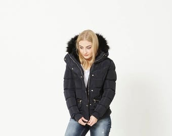 Women's Navy Winter Puffa Jacket