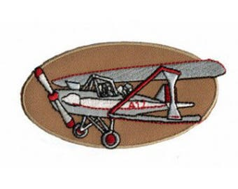 Airplane biplane fusible badge