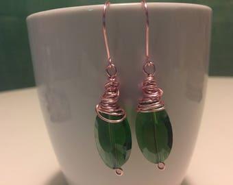 Green wire wrapped dangle earrings