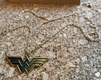 Wonder Woman Inspired Brushed Gold Metal Necklace Pendant