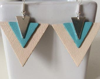 Blue and off-white leather earrings