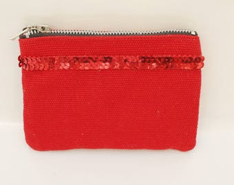 Wallet red cotton with red sequins