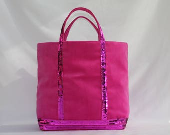 New! The tote bag pink velvet has round sequins