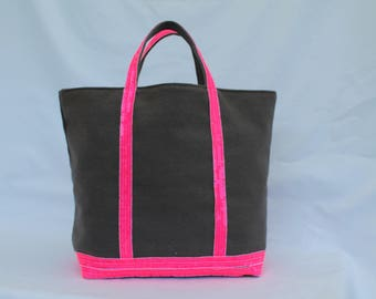 The tote bag gray linen-cotton with sequins neon pink