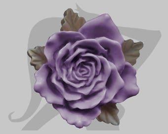 Big leaves rose flower Cabochon resin 376mm khaki beige purple