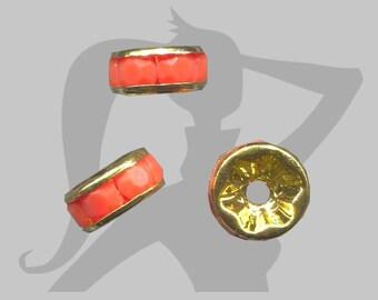 3 rondelles - Différents coloris - rondelles intercalaires métal doré et strass opaque 8mm
