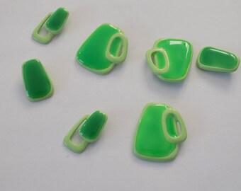 set of 7 beautiful original geometric shape green beads.