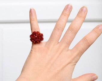 Handwoven orange red beads ring