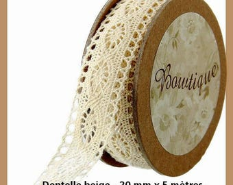 Spool of beige lace 20 mm x 5 m - new
