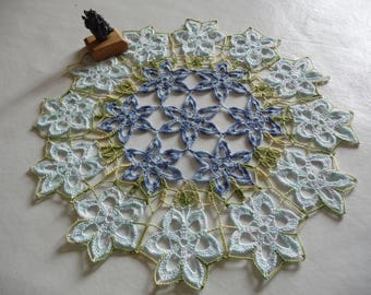 Crochet flowers doily handmade cotton blue and green.