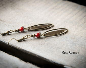 "Minimalist earrings with red coral ""Mila"""