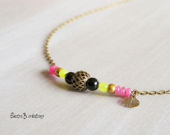 Bohemian necklace gemstones Cassiopeia, black, fuchsia, yellow, bronze
