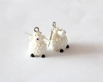 Resin sheep earrings