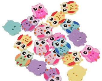 Attractive 10 buttons 2 holes green OWL