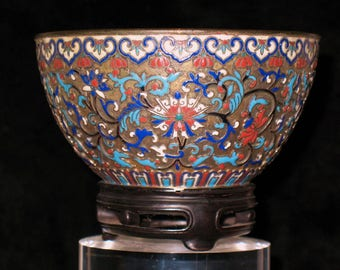 Chinese Imperial cloisonne on gild-bronze body arhaistic bowl