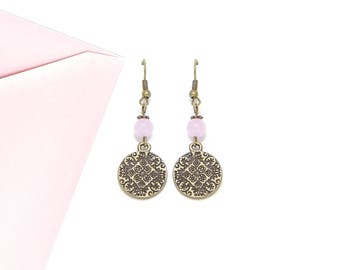 Ethnic charm bronze and Pink Pearl Earrings