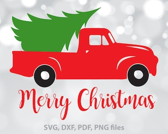 Christmas Tree Truck SVG, Christmas Truck dxf, Merry Christmas Cut file, Xmas Truck Clipart, Christmas SVG, Christmas designs, Download