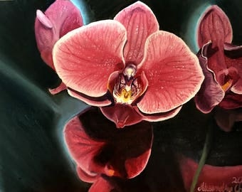 Orchid painting on canvas board unframed