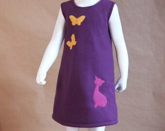 So cat - girl fleece dress purple - custom