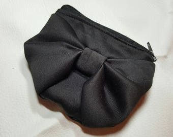 Wallet black fabric bow