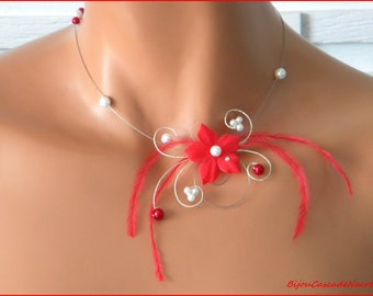 wedding flower Ines red Silver White Pearl wedding necklace